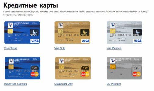 типы кредитных карт возрождение